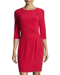 Marc New York By Andrew Marc Gathered 3 4 Sleeve Sheath Dress Classic Red