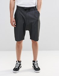 Asos Drop Crotch Shorts With Tie Waist In Charcoal Charcoal Grey
