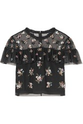 Needle And Thread Lustre Cropped Embellished Tulle Top Black