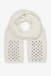 French Connection Lily Beaded Scarf White