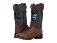 Dan Post Thin Blue Line Sand Blue Leather Cowboy Boots Brown