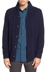 Men's Ben Sherman 'The Cable' Shawl Collar Cardigan Classic Blue