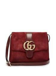 Gucci Arli Gg Suede And Leather Cross Body Bag Burgundy