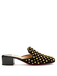 Christian Louboutin Mulaconka 35Mm Gold Spike Suede Mules Black Gold