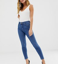 Asos Design Petite Ridley High Waist Skinny Jeans In Mid Wash Blue