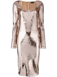 Tom Ford Sequinned Fitted Dress Women Plastic Polyamide Spandex Elastane 38 Pink Purple