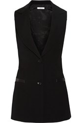 Bailey 44 Attore Faux Leather Trimmed Crepe Vest Black