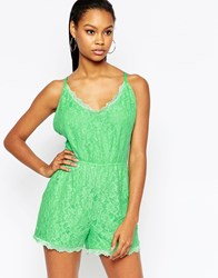 City Goddess Lace Playsuit With Strappy Back Green
