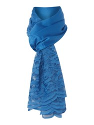 Linea Lace Edge Scarf Blue