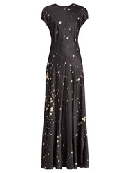 Alexander Wang Splatter Print Satin Maxi Dress Grey Multi