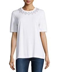 Michael Kors Collection Embellished Collar Short Sleeve Tee White Women's Size Xs