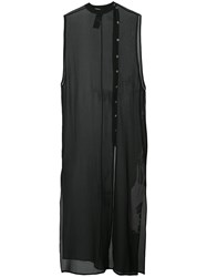 Isabel Benenato Sheer Sleeveless Dress Women Silk 42 Black