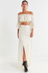Urban Outfitters Uo Button Front Maxi Skirt Ivory