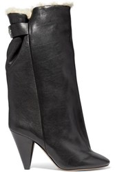 Isabel Marant Lakfee Shearling Lined Leather Ankle Boots Black