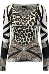 Etro Printed Silk And Cashmere Blend Sweater Black