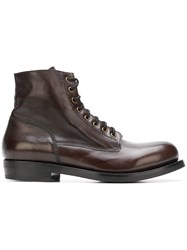 Buttero Lace Up Ankle Boots Brown