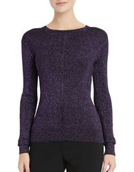 Ellen Tracy Metallic Pointelle Sweater Purple