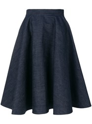 Calvin Klein 205W39nyc Flared Denim Skirt Cotton Blue