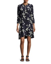 Theory Carstan Autumn Printed Silk Dress Navy Ivory Print