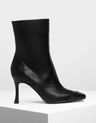 Charles And Keith Dual Textured Ankle Boots Black