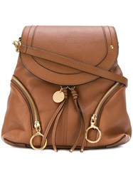 See By Chloe Hoop Flap Backpack Women Leather One Size Brown