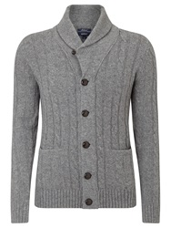 Gant Lambswool Cable Knit Cardigan Dark Grey