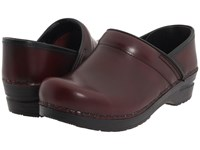 Sanita Professional Cabrio Bordeaux Brush Off Leather Clog Shoes Burgundy