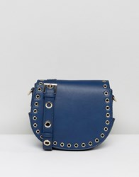 Marc B Across Body Satchel With Rivit Detailing Navy