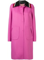 N 21 No21 Contrast Striped Collar Coat Pink