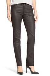 Women's Lafayette 148 New York Waxed Denim Slim Leg Jeans Black
