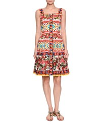 Dolce And Gabbana Sleeveless Button Front Maiolica Dress Pink Multi Red