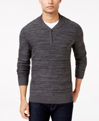 Alfani Men's Regular Fit Baseball Collar Sweater Only At Macy's Black Ice Heather