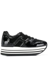 Hogan Houndstooth Print Sneakers Black