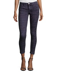 Marchesa Voyage Flocked Skinny Ankle Pants Navy