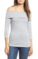 Hinge Women's Off The Shoulder Stretch Jersey Top Grey Heather