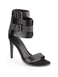 Tibi Riley Wide Ankle Strap Leather Sandals Black