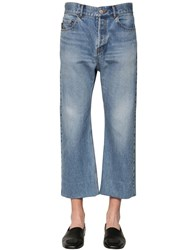 Balenciaga Cropped Cotton Denim Jeans Light Blue