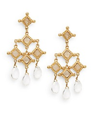 Stephanie Kantis White Quartz Briolette Venetian Chandelier Earrings Gold