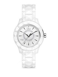 Christian Dior Dior Viii Diamond And White Ceramic Bracelet Watch White Silver
