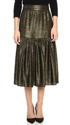 Twelfth St. By Cynthia Vincent Metallic Tiered Midi Skirt Gold