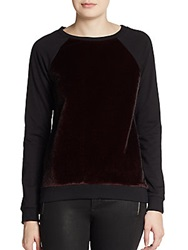 Romeo And Juliet Couture Faux Fur And Terry Sweatshirt Burgundy