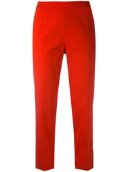 Piazza Sempione Cropped Trousers Women Silk Polyamide Spandex Elastane 40 Red