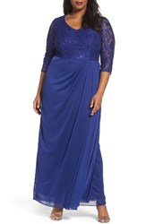 Alex Evenings Plus Size Women's Sequin Lace Bodice Gown