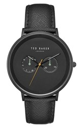 Ted Baker London Brad Multifunction Leather Strap Watch 42Mm Black Black