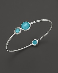 Ippolita Stella Bangle In Turquoise Doublet With Diamonds In Sterling Silver Multi