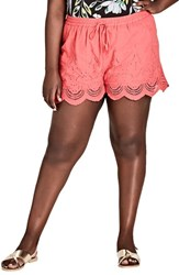 City Chic Plus Size Women's Summer Love Drawstring Shorts Dark Coral
