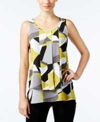 Alfani Printed Pleated Top Only At Macy's Retro Abstract Lime