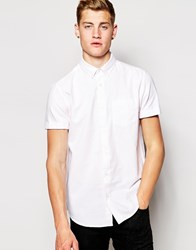 New Look Short Sleeve Shirt In Oxford Stripe Pink