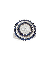 Diana M. Jewels 14K Round Sapphire And Diamond Ring Size 6