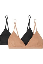 Baserange Mississippi Set Of Two Stretch Bamboo Soft Cup Triangle Bras Sand